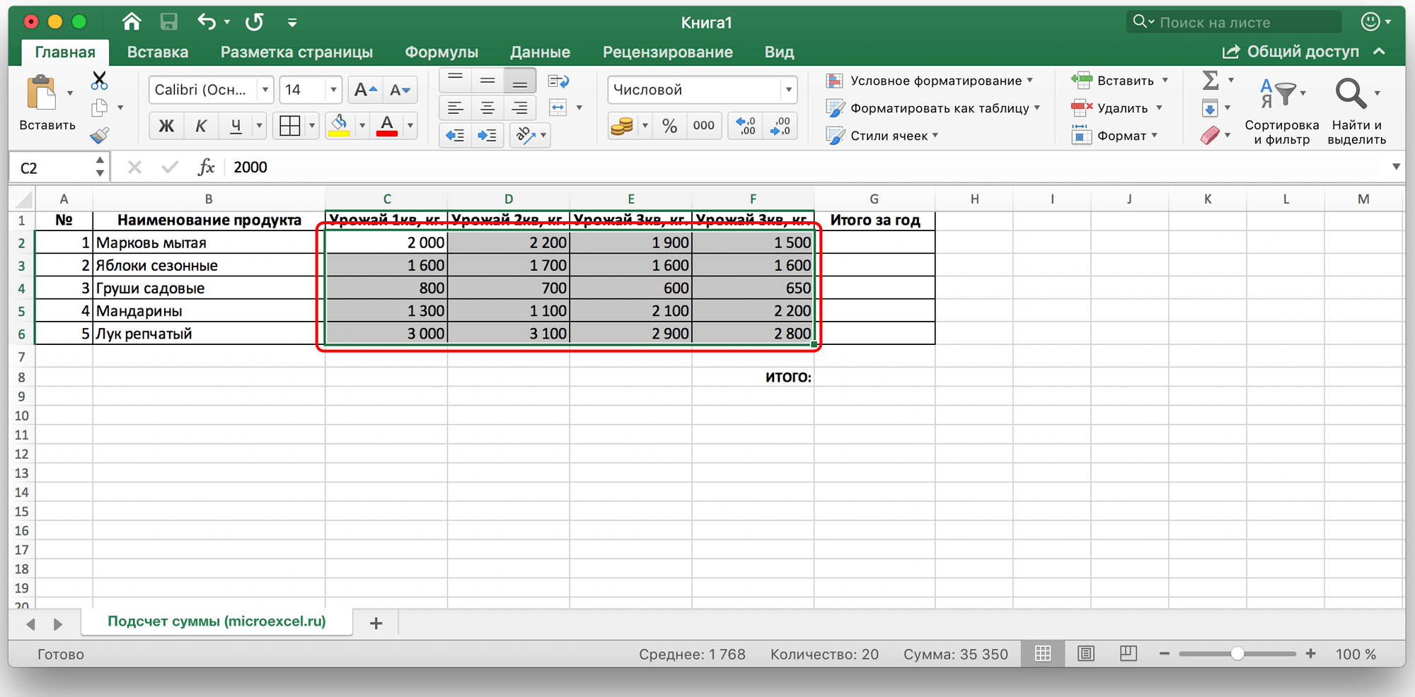 Считаем сумму ячеек в Microsoft Excel