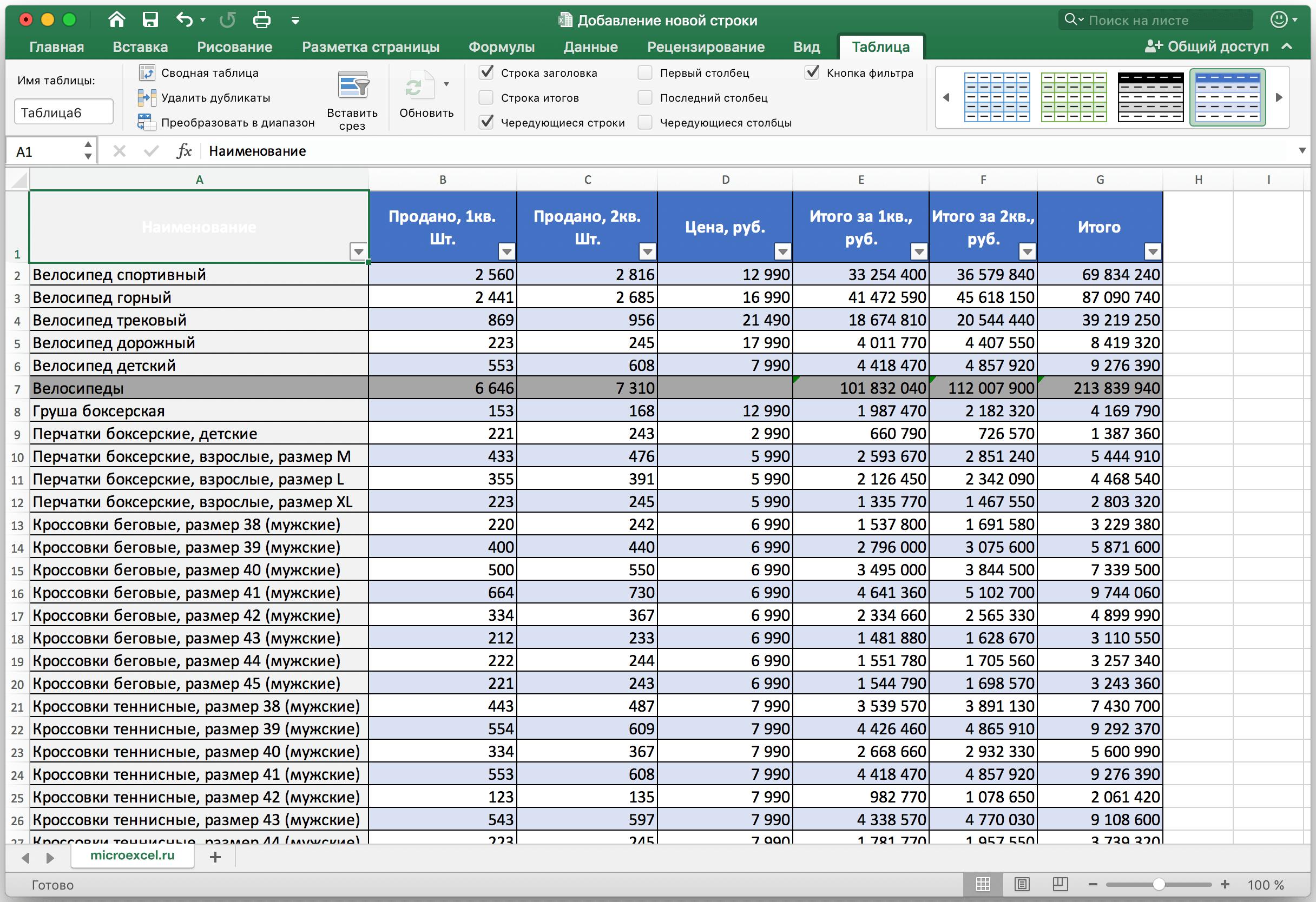 Как создать умную таблицу
