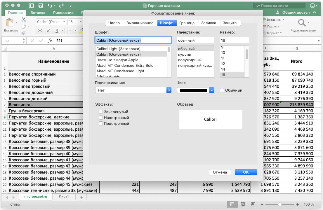 Форматирование данных в документе