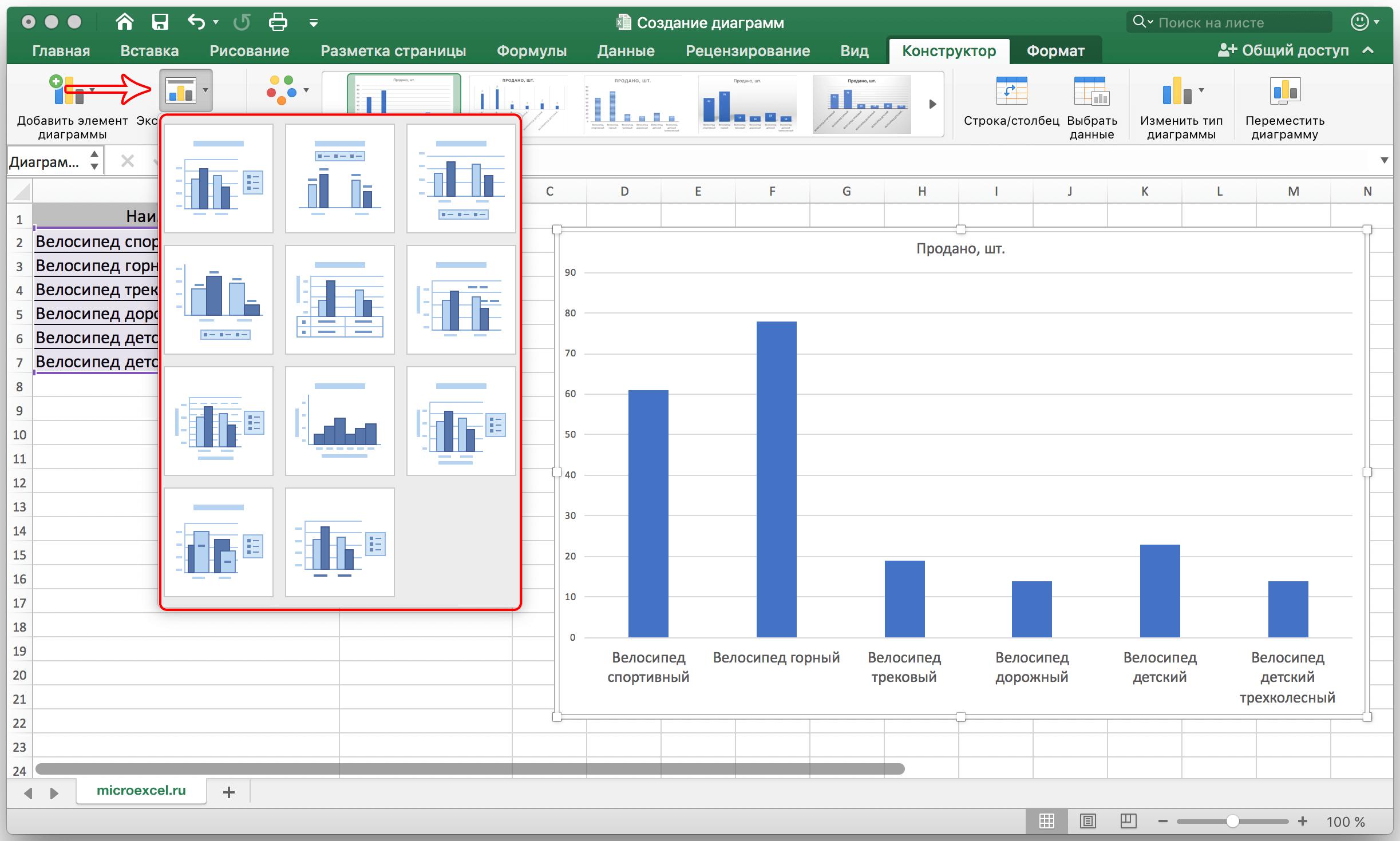 Как работать с диаграммами в Экселе