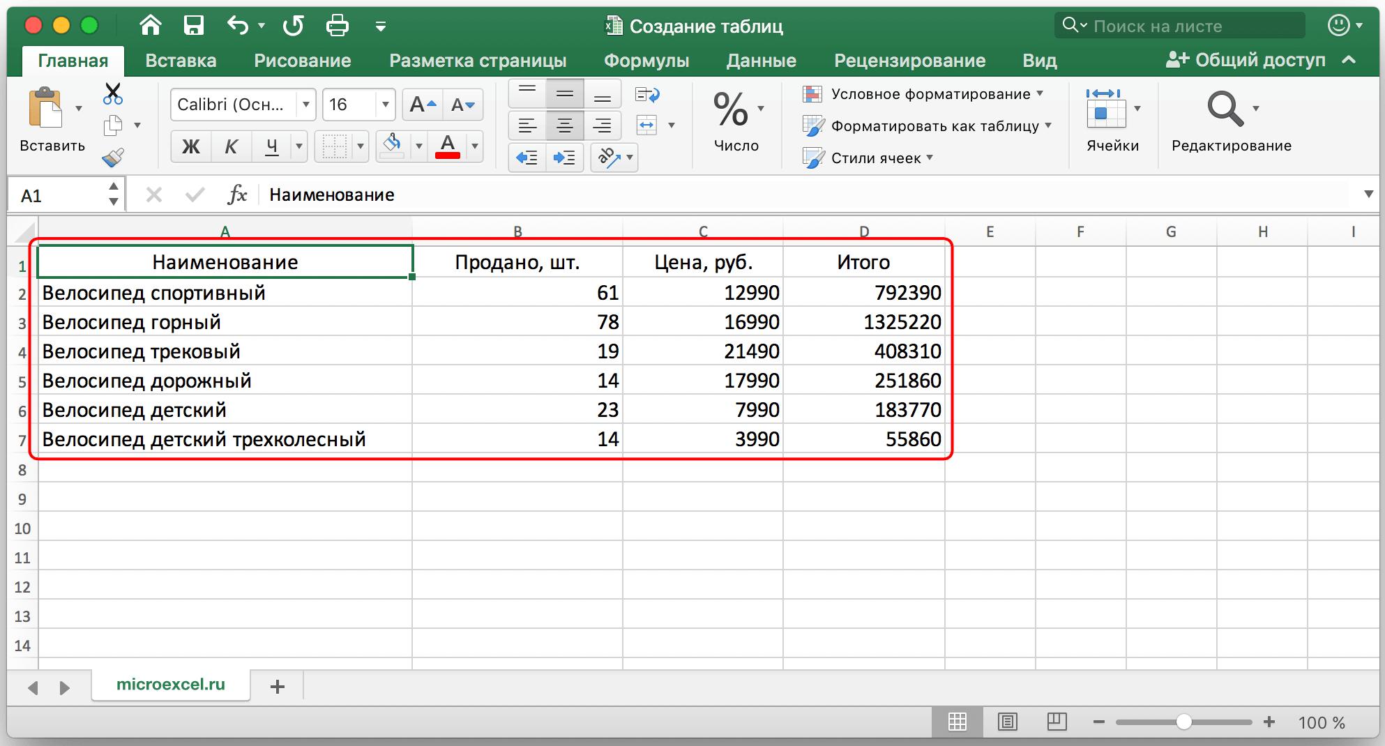Как создать таблицу в Excel