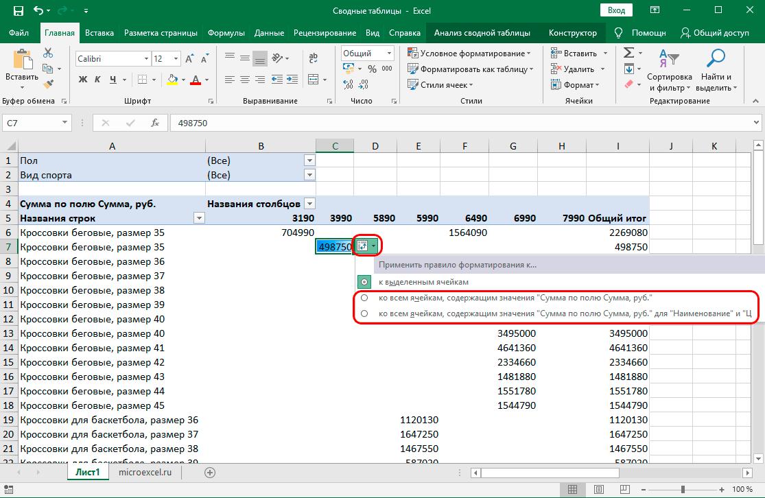 Классический способ составления сводной таблицы