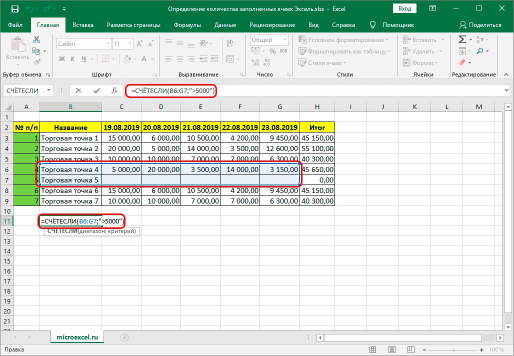 Формула функции СЧЕТЕСЛИ в Excel