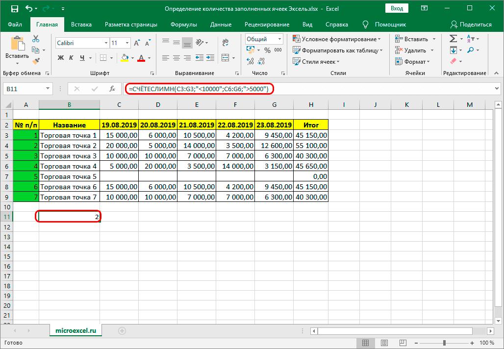 Подсчет заполненных ячеек с помощью функции СЧЕТЕСЛИМН