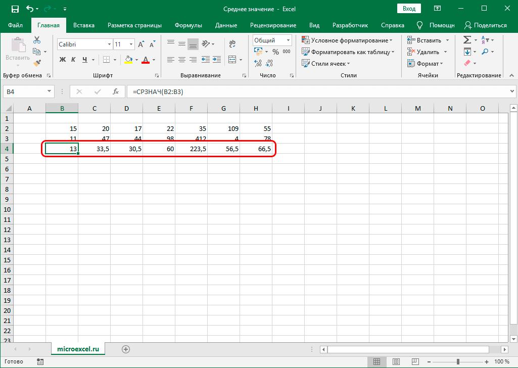 Средние значения по всем столбцам в таблице Excel
