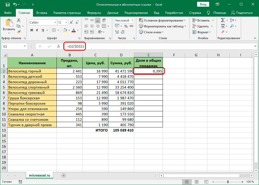 Абсолютная ссылка в формуле Excel