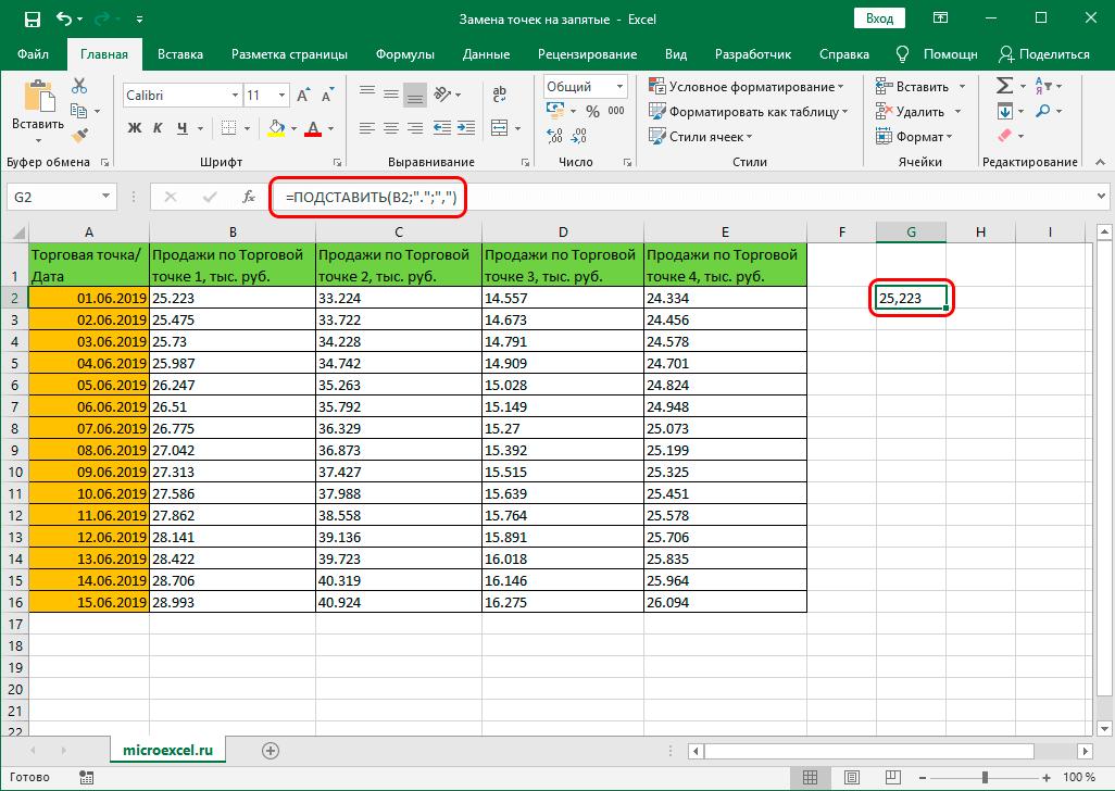 Результат функции ПОДСТАВИТЬ в ячейке таблицы Excel