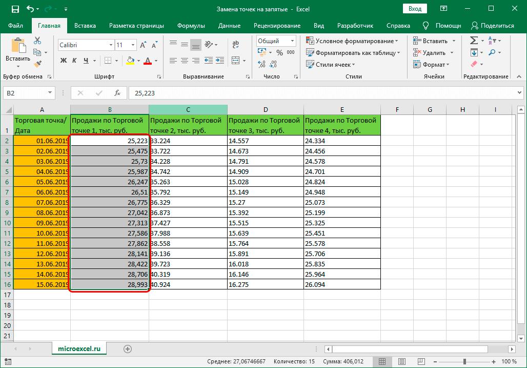Столбец с числовыми данными в Эксель c запятой в качестве разделителя