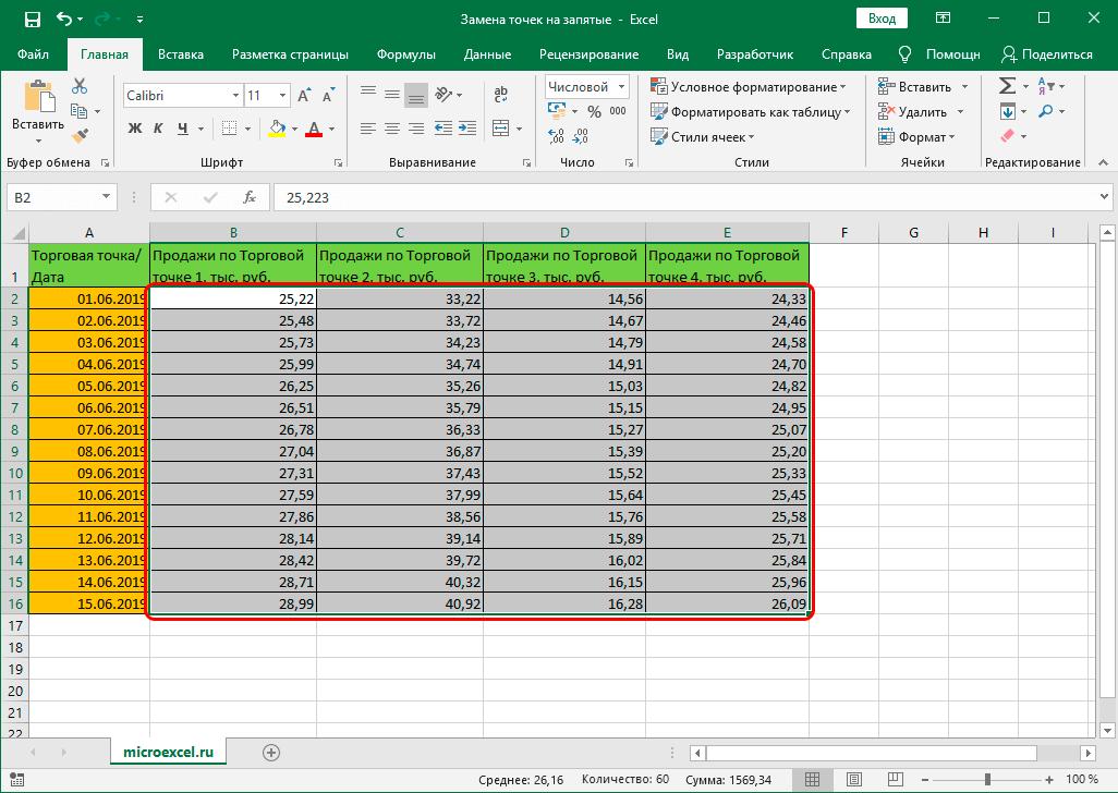 Результат замены точек на запятые в Excel