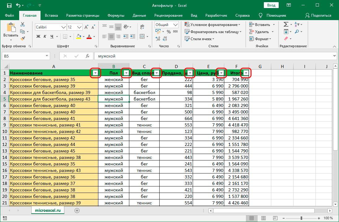 Таблица Эксель со включенным фильтром