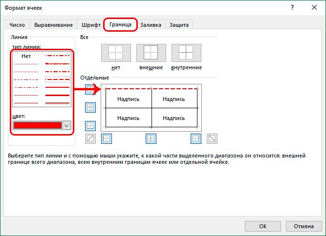 Точечная настройка границ в окне форматирования ячеек в Эксель