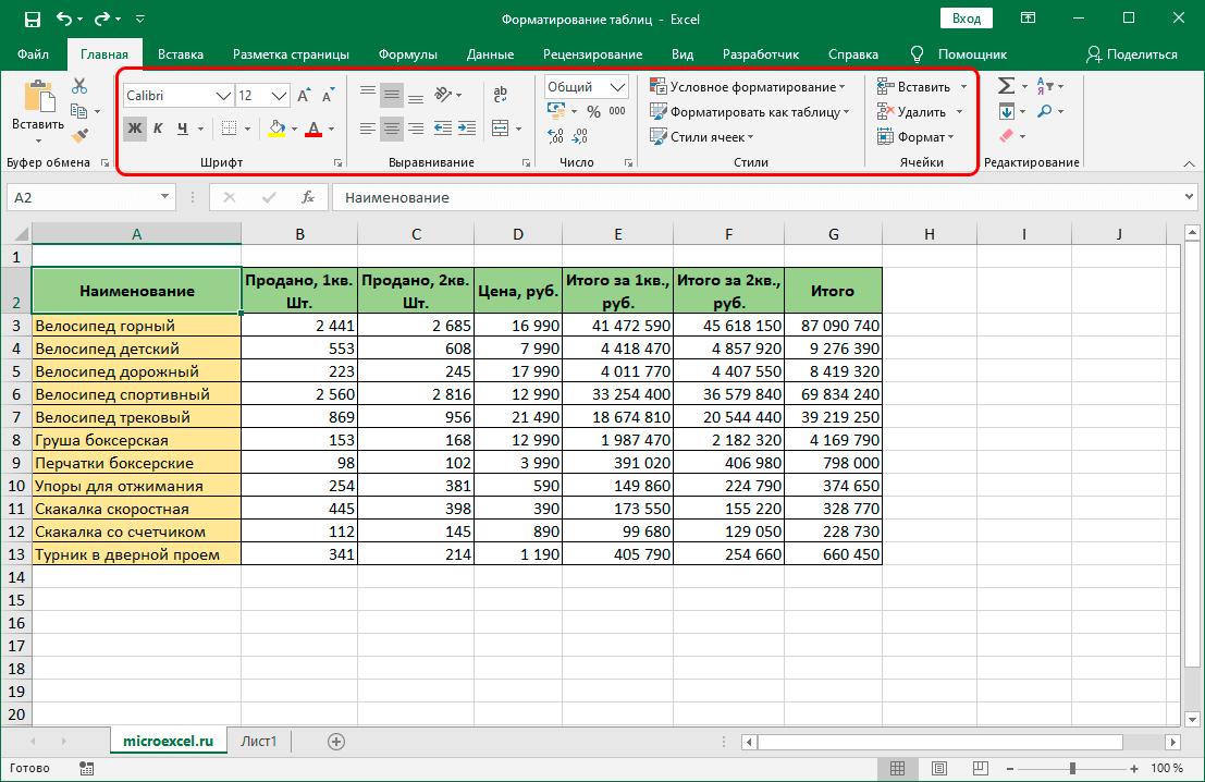 Инструменты для форматирования таблицы на ленте программы Эксель
