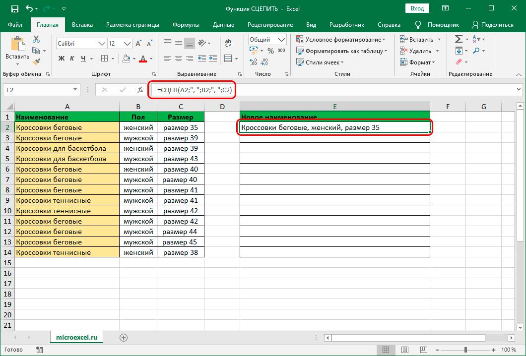Результат по функции СЦЕП в Эксель