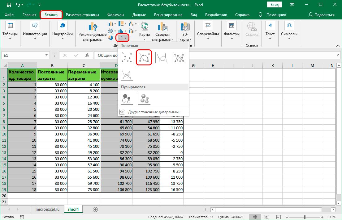 Вставка точечного графика с гладкими кривыми и маркерами в Excel