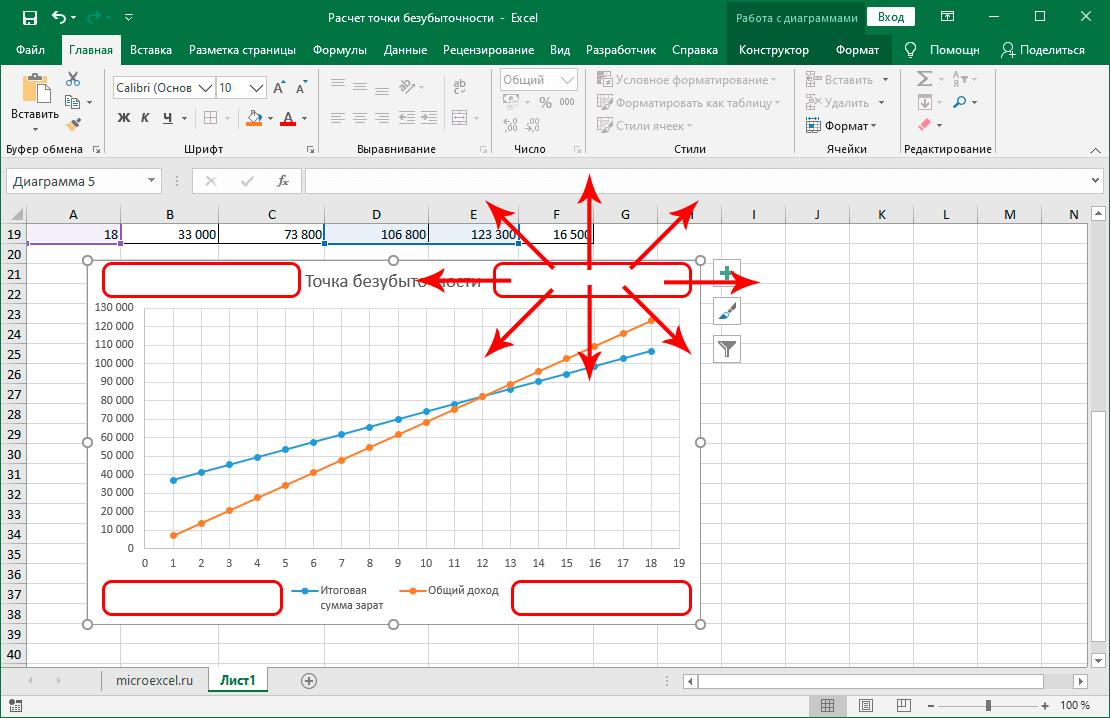Изменение положения графика в Excel