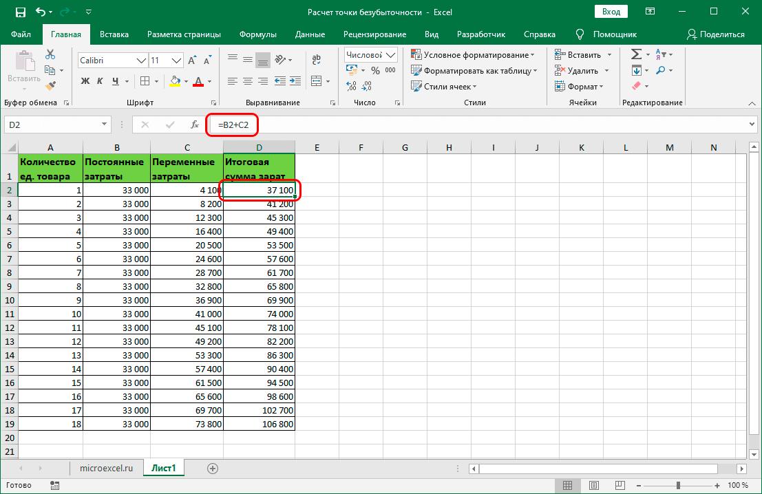 Расчет итоговых затрат исходя из объема продукции в Excel