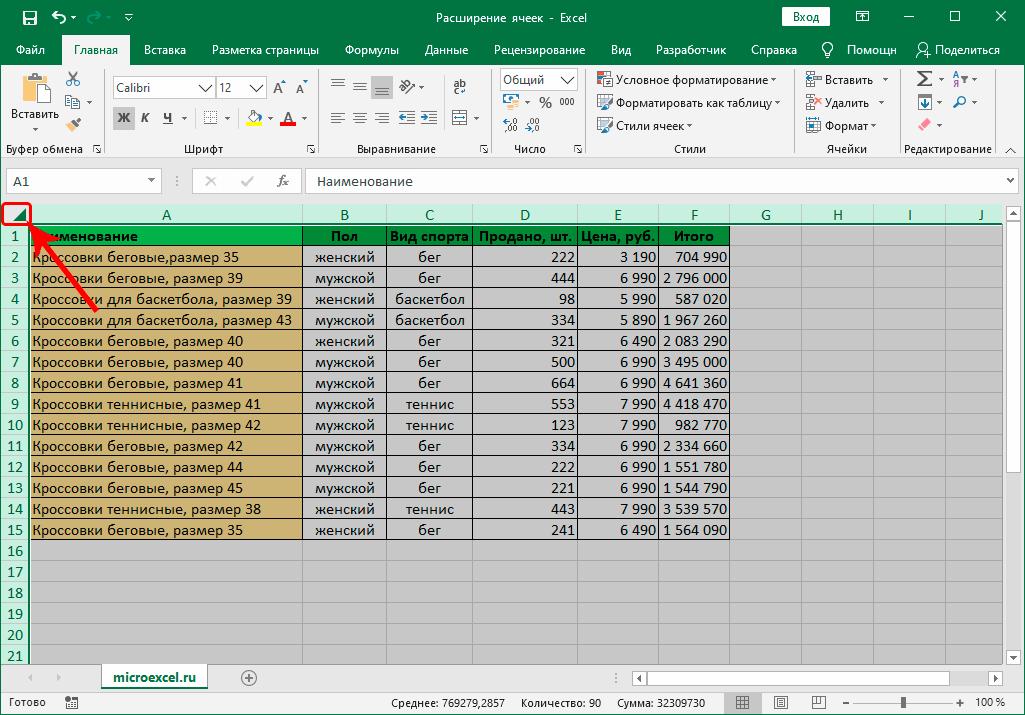 Выделение всех ячеек на листе в Excel