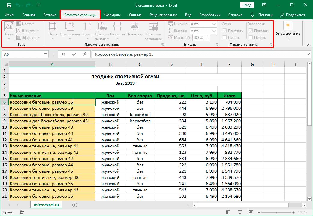 Неактивная вкладка Разметка страницы в Эксель