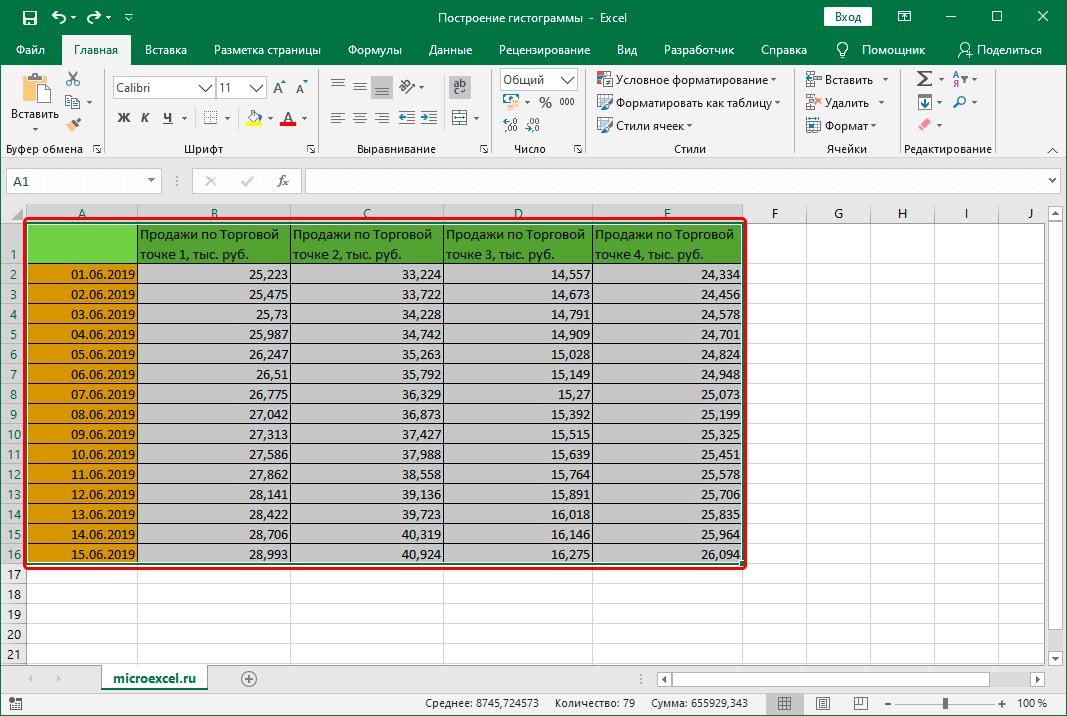 Выделение ячеек таблицы Эксель