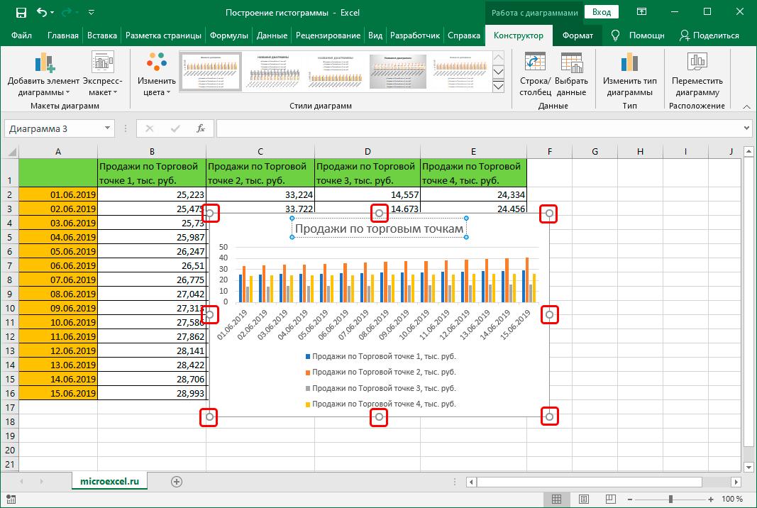 Изменение размеров гистограммы в Excel
