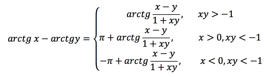 Обратная тригонометрическая функция: Арктангенс (arctg)