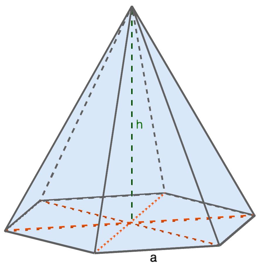 Объем правильной шестиугольной пирамиды