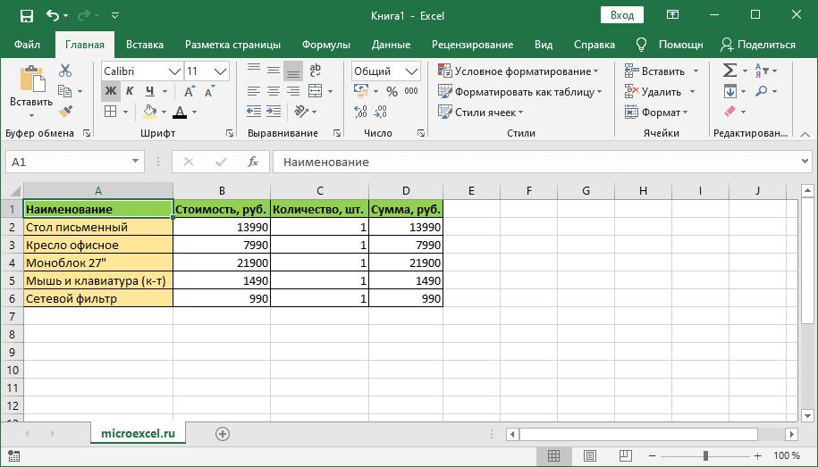 Импортированная в Эксель таблица