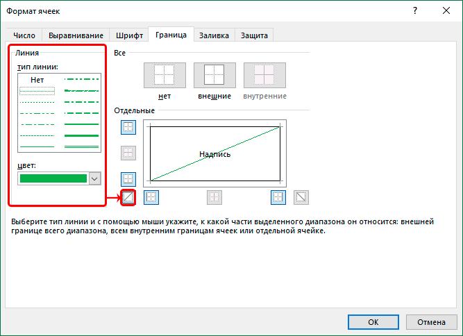 Разделение ячейки косой чертой в Excel