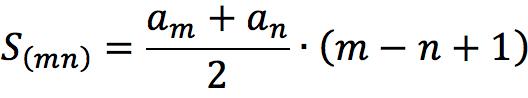 Формула суммы членов арифметической прогрессии с n-ого по m-ный