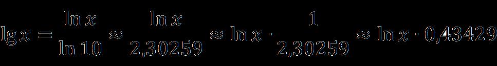 Связь десятичного логарифма с натуральным