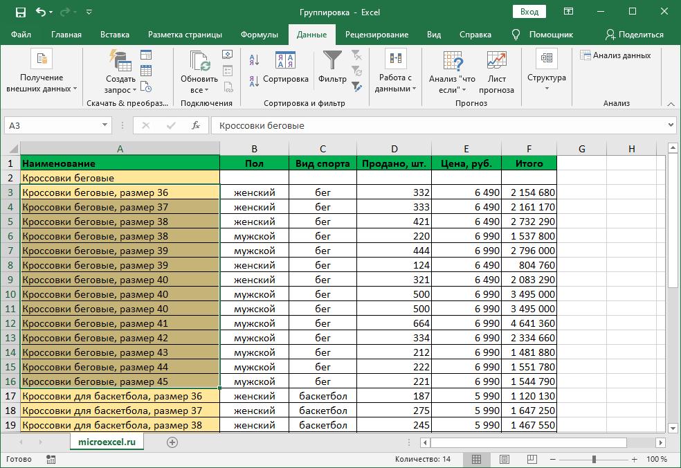 Разгруппированная таблица Эксель