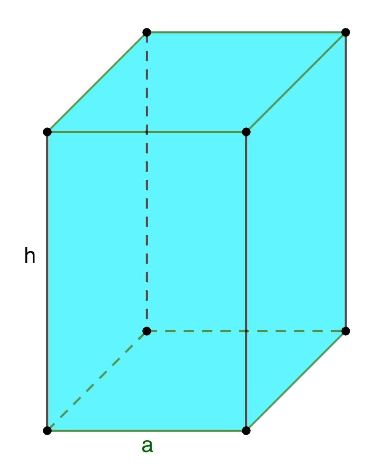 Площадь поверхности правильной четырехугольной призмы
