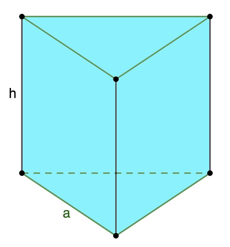 Площадь поверхности правильной треугольной призмы