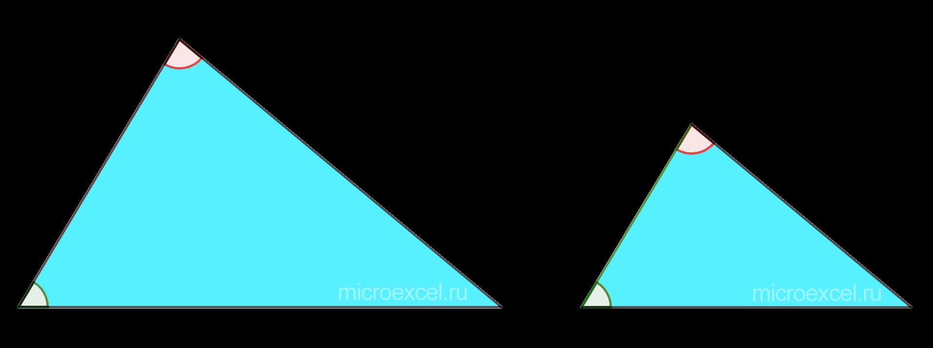 Подобные треугольники по двум равным углам
