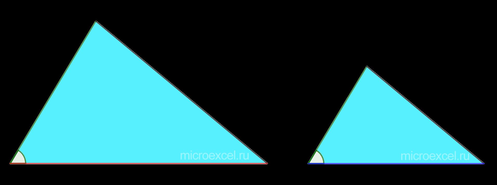 Подобные треугольники двум пропорциональным сторонам и равному углу между ними