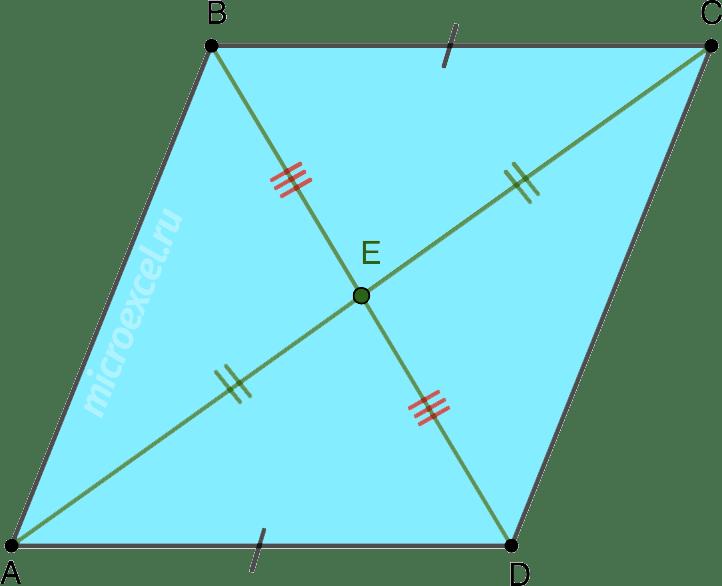 Равенство треугольников в параллелограмме по третьему признаку