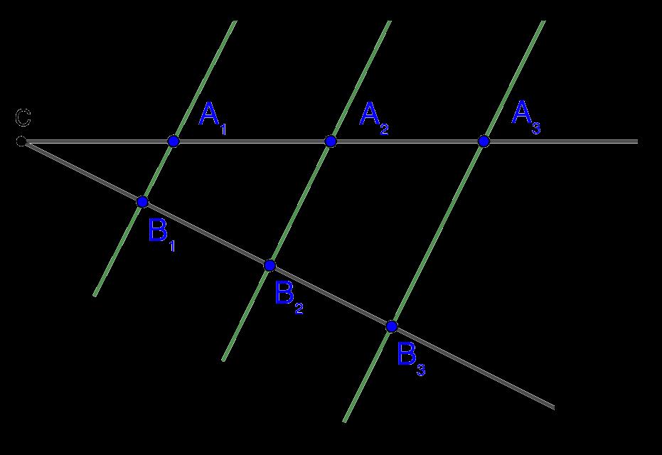 Обратная теорема Фалеса для пересекающихся секущих