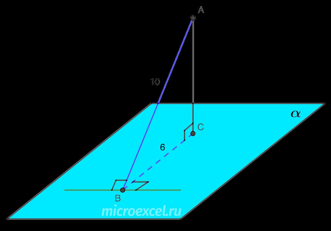 Теорема о трех перпендикулярах (пример)