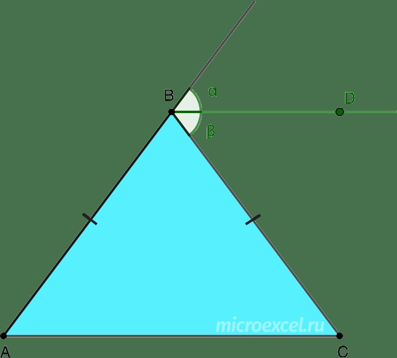 Внешняя биссектриса угла напротив основания равнобедренного треугольника