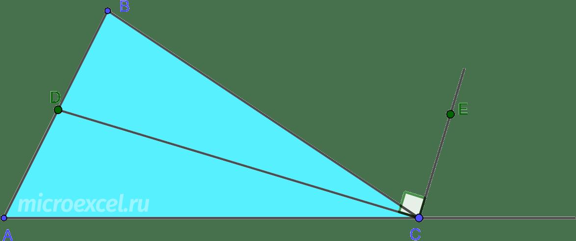 Перпендикулярность внешней и внутренней биссектрис одного и того же угла треугольника