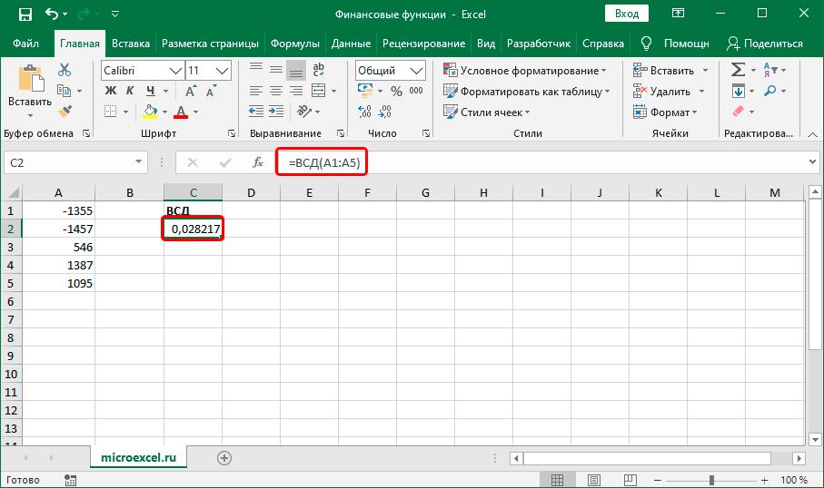 Результат финансовой функции ВСД в ячейке и выражение в строке формул в Экселе