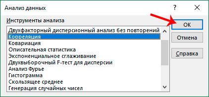 Выбор Корреляции для анализа данных в Excel