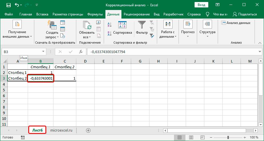 Результат выполнения корреляционного анализа в Excel
