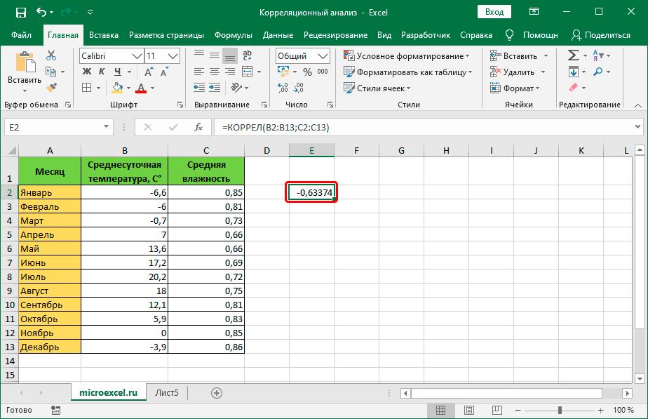 Результат выполнения функции КОРРЕЛ в ячейке таблицы Excel