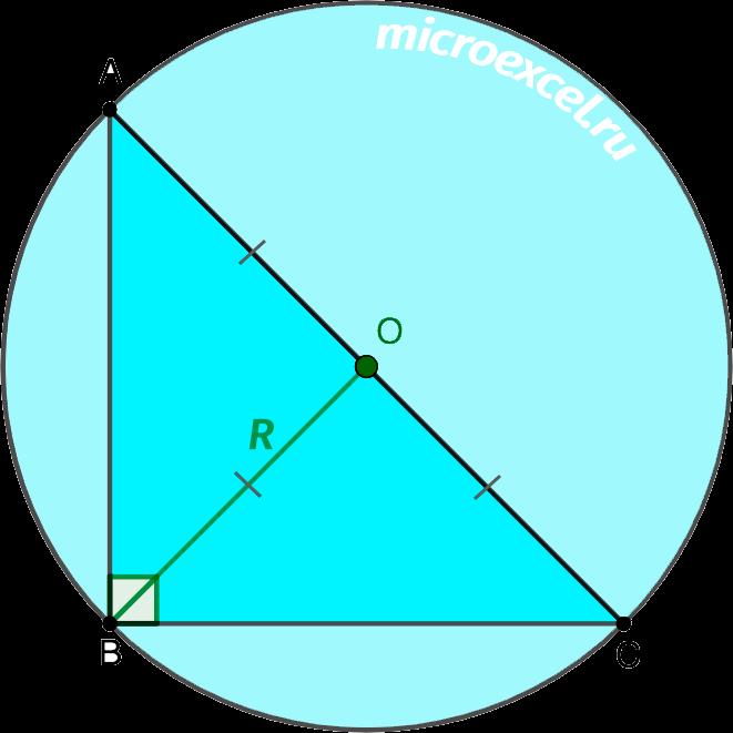 Равенство медианы к гипотенузе и описанной вокруг треугольника окружности