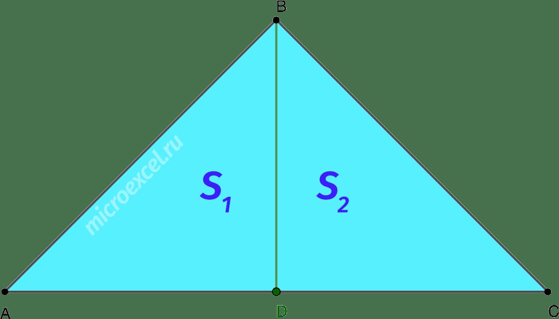 Деление медианой равнобедренного треугольника на 2 равновеликих треугольника