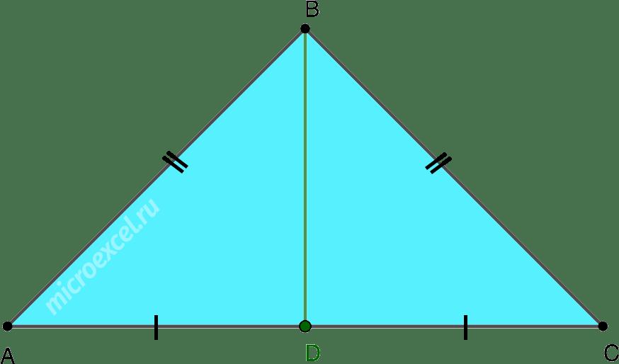 Медиана в равнобедренном треугольнике проведенная к основанию