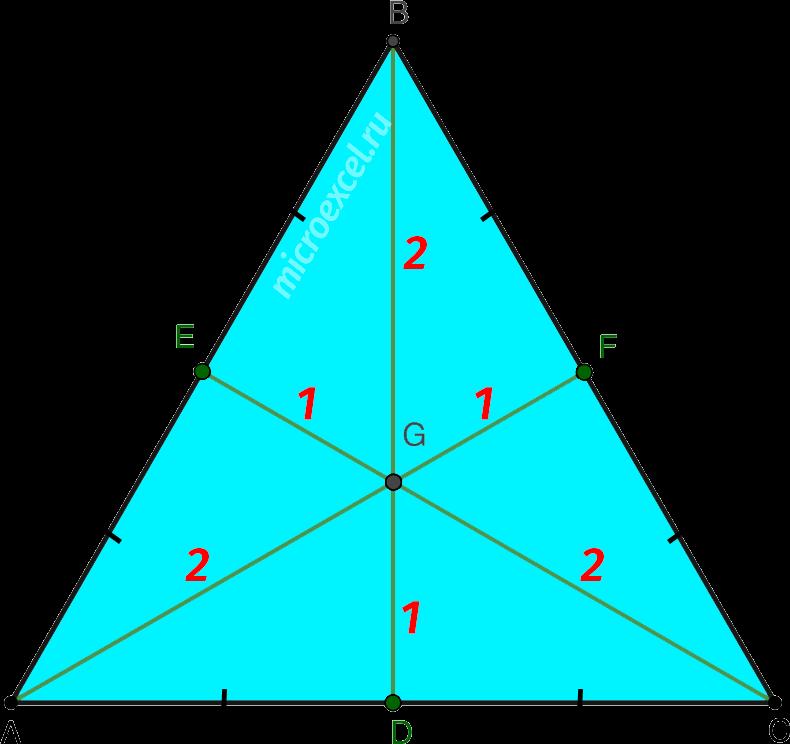 Деление медиан в точке пересечения в равностороннем треугольнике