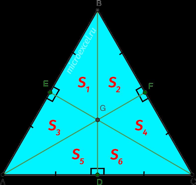 Деление равностороннего треугольника медианами на шесть равновеликих прямоугольных треугольников