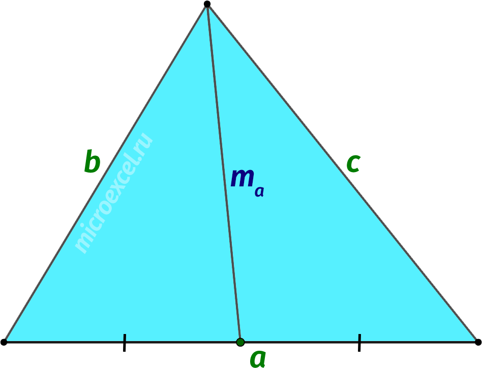 Длина медианы через длины сторон треугольника